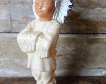 "Vintage 5"" Molded Plastic Indian Doll Chief Warrior Native American"