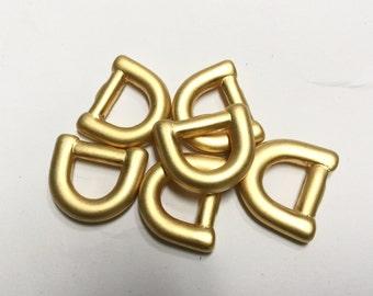 "10 Brushed Gold metal D-rings 7/8"" x 3/4"""