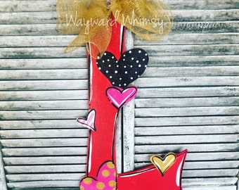 Valentine heart Alphabet letter of your choice Wood Cut Out Door Hanger