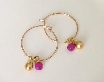 Gold Hoops Earrings, Small Wire Earrings, 14K Gold Filled Hoops, Earrings For Women, beads Hoop Earrings, Thin Hoops, fuchsia bead