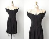 RESERVED // vintage 1940s dress / 40s rayon dress / 40s collar dress / Ciros dress