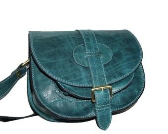 Teal Blue Leather Saddle Bag Messenger Cross-body Purse Goldmann Size S