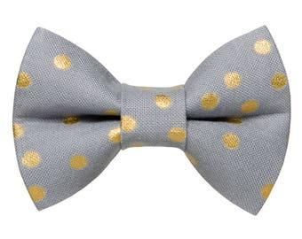 "Cat Bow Tie - ""The After Party"" - Gray with Metallic Gold Polka Dots"