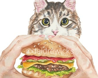 Cat Watercolour - 8x10 PRINT, Cat Painting, Hamburger Drawing, Cat Print, Tabby Cat, Animal Watercolor