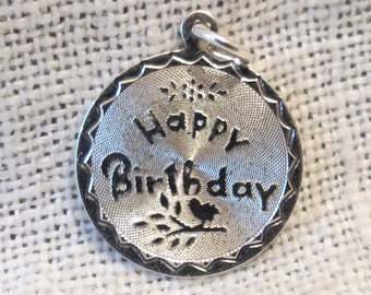 Happy Birthday Bird Out on a Limb Sterling Silver Charm by Spencer