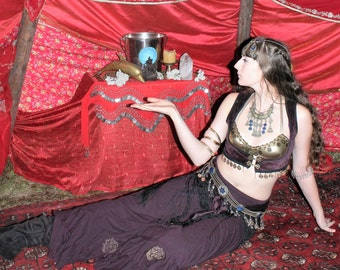 Turkish Vest and coin fringe Hip Scarf combo/Belly Dance costume/Gypsy clothes/Festival out fit/tribal belly dance/ Priestess Regalia