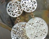Filigree Carved Mother of Pearl Mandalas and Gold Filled Earrings
