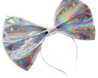 Giant Holographic Headbow ~ Silver (Made to Order)