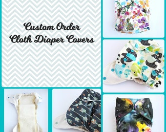 Custom order one size Eco PUL Print cloth diaper cover OS snap down rise