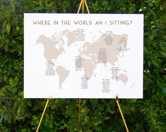World map unique seating chart | Printable wedding signage