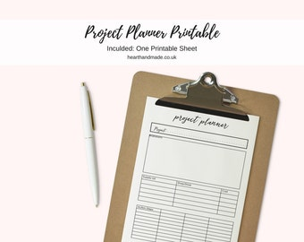A4 Size Craft/DIY Printable Project Planner Template For Your Planner - Kikki K -  Organiser - Organizer - Project List - Planner Printable