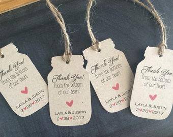 50 Mason Jar Tags with twine Gift Tags Favor Tags Rustic Tags Kraft Tags Rustic Wedding