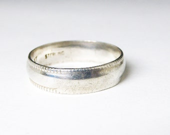 Sterling Silver Band Ring - Classic - Wedding Ring - Friendship Ring - Signed Sterling AT - 1960's 1970's era Vintage Modern