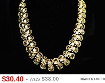 Vintage Coro Choker Necklace - Goldtone with Clear Crystal Rhinestones - Figure 8 Links in Filigree Style 1950's Mid Century Era