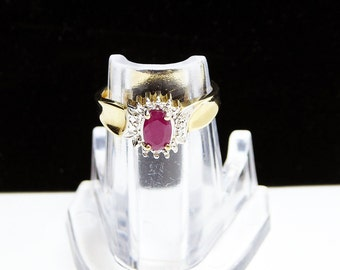 Red Ruby 10K GF Ring - Princess Style Setting, Single Oval Ruby w Clear Stones - Yellow Gold with Silver - Size 6 - Vintage Modern 1960's