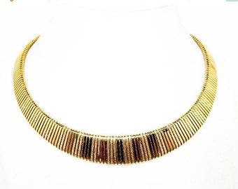Vintage Trifari Choker Necklace - Gold Tone Striped Collar -  Textured / High Shine Sections - Signed Trifari Modernist - Vintage 1980 1990