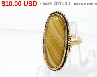 Avon Agate Ring - Shimmering Sands Butterscotch - 1978 Collectible Vintage Jewelry