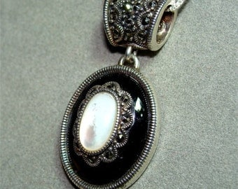 STERLING Silver Necklace Pendant w/ Mother of PEARL ONYX and Chain Included
