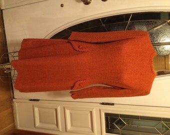 60s Vintage Day Dress 60s Wool Dress Rust-Orange Textured Wool Dress Buttoned Pockets at Hips Secretary Dress Classic Style Collegiate