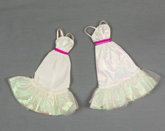 Barbie fashion clothes, Two Bridesmaid dresses Classic styling with shimmer and ruffles, Sun dress with irridescent straps, Excellent shape