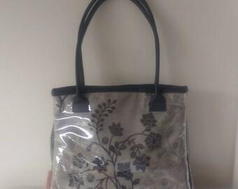 Handbag: Black Flowers and Leather