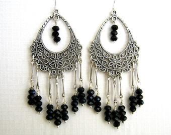 Black Filigree Chandelier Earrings Black Crystal Chandelier Earrings Long Black Earrings