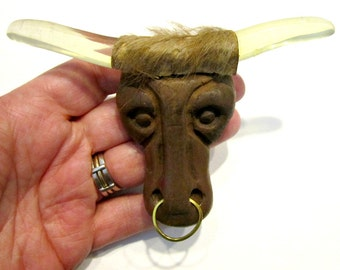 Vintage Carved Wood Elzac Bull Brooch AS IS Lucite Horns Large Carved Jewelry Pin 1940 Under 50 Collectible