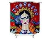 Frida Kahlo Day of the Dead Shower Curtain Mexican Folk Art Lovers Bathroom Decor gift by Heather Galler - Sugar Skulls