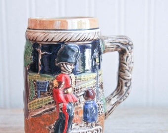 Vintage Beer Stein London scene with British Soldier Beer Mug,  Mens Barware 1960's