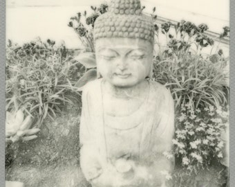Peaceful  Resting Buddha,  Print of an original Polaroid image taken with a vintage SX-70 camera and Impossible Project Film