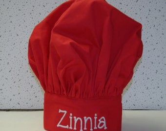 Red Child's Chef Hat, Kids Cooking Hat, Personalized With Name, No Shipping Charge, Ready To Ship TODAY, AGFT 575