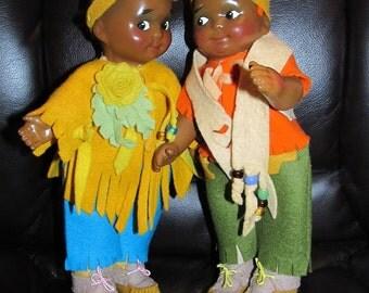 Beautifully restored composition 1916 Madame Hendren Georgene Averile Googly native American dolls