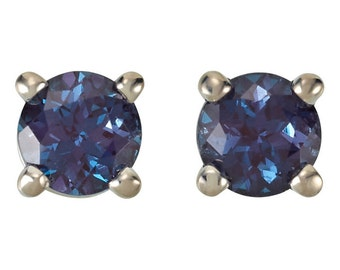 Alexandrite Birthstone Earrings, Full Color Change, June Birthstone Earrings, Chatham Alexandrite, 925 Silver Earrings, Wedding Earrings
