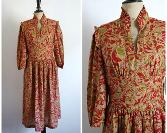 Vintage 50s-60s Midi Day Dress / Small Size