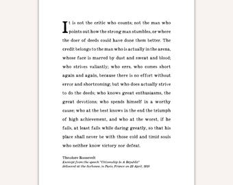 Graduation gift for him, Man in the Arena Quote Print, Roosevelt, Teddy, inspirational speech