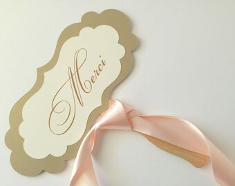 Wedding Photo Prop Wording Merci Hand Held Sign for your Wedding Photography