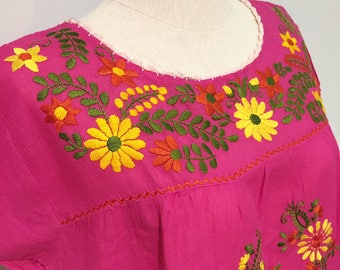 Mexican style hand embroidered  blouse