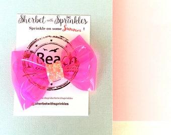 Neon Pink Hair Bow, Neon Pink Vinyl Bow, Vinyl Hair Bow, Summer Hair Bow, 80s Hair Bow, Retro Hair Bow