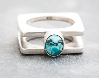 NEBULOUS MOONAGE DAYDREAM Turquoise and Silver Ring by Jungle Tribe Couture