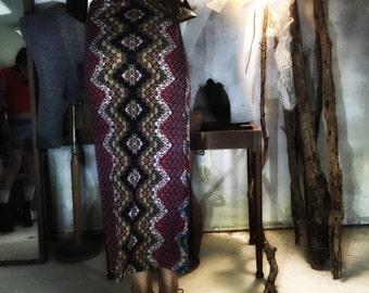 Geometric Psychedelic Snake Print Organic Cotton Maxi Skirt