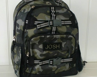 Small Backpack With Monogram (Small Size) Pottery Barn -- Green Camo