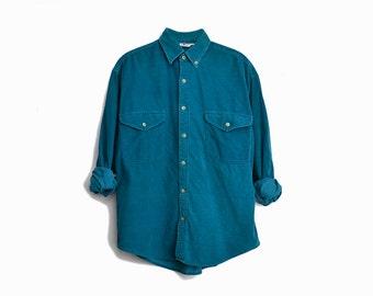 Vintage 90s Teal Corduroy Boyfriend Shirt / Button-Down Corduroy Shirt - men's small