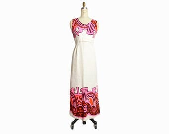 Vintage 70s Hawaiian Wedding Dress / Barkcloth Maxi Dress in Ivory & Pink / White Wedding Dress - women's small