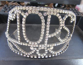 "RHINESTONE CROWN  ""TOPS"" Vintager 1960s   Beauty Contest Winner Item"