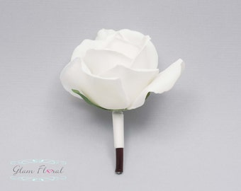 White Rose Boutonniere . Real Touch Flowers. groom, groomsmen, prom pin on flower, button hole, Caroline Rose Collection
