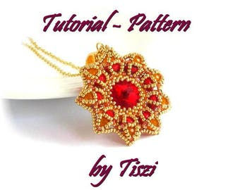 Beading pattern, tutorial for beaded pendant Veszta with rivoli and donuts, PDF instructions, step by step for a beaded pendant