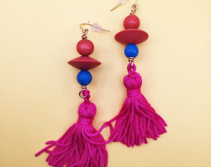 Featured listing image: Bright Orange Upcycled Vintage Wood Geometric Earrings With Blue Jade and Hot Pink Tassels