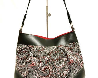Shoulder Bag in Red, White and Black Paisley Print