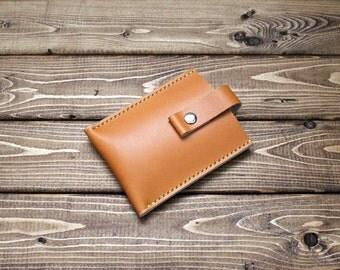 Minimalist Leather Wallet, Men's Wallet, Card Sleeve, Card Wallet, Free Personalization