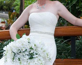 10 in to 35 in beaded rhinestone applique, trim, bridal sash, wedding sash, bridal headband, wedding headband,  bridal belt, rhinestone belt